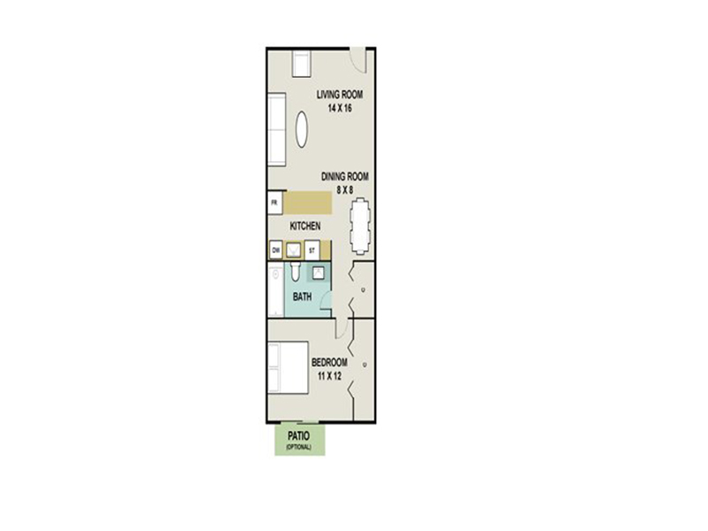 Our OBSIDIAN is a 1 Bedroom, 1 Bathroom Apartment
