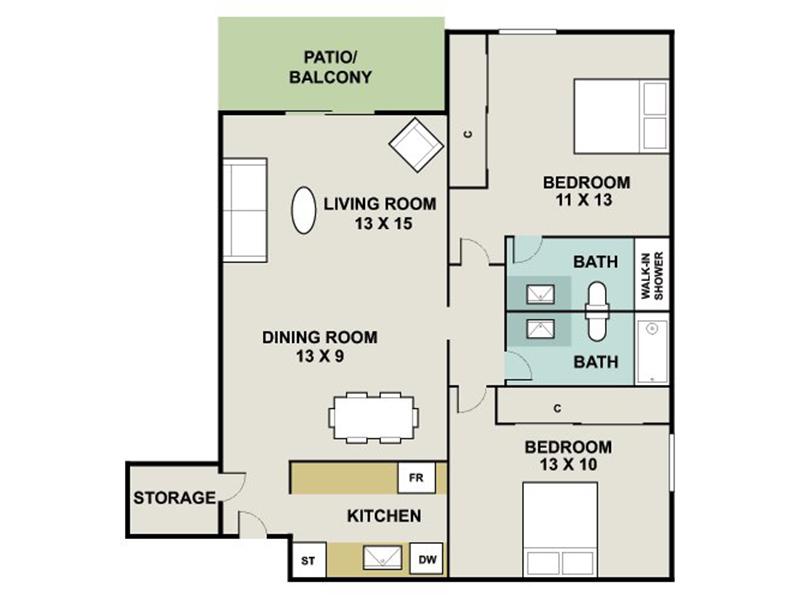 Our QUARTZ is a 2 Bedroom, 2 Bathroom Apartment