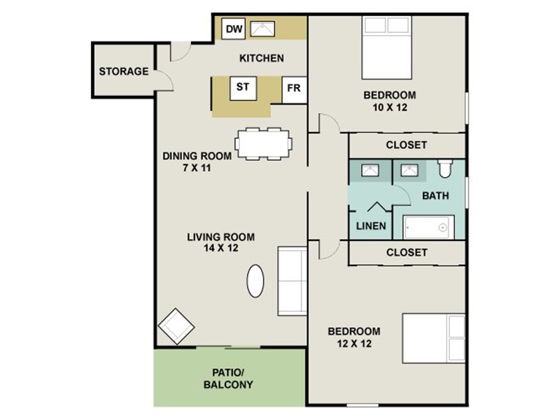 Our SHALE is a 2 Bedroom, 1 Bathroom Apartment