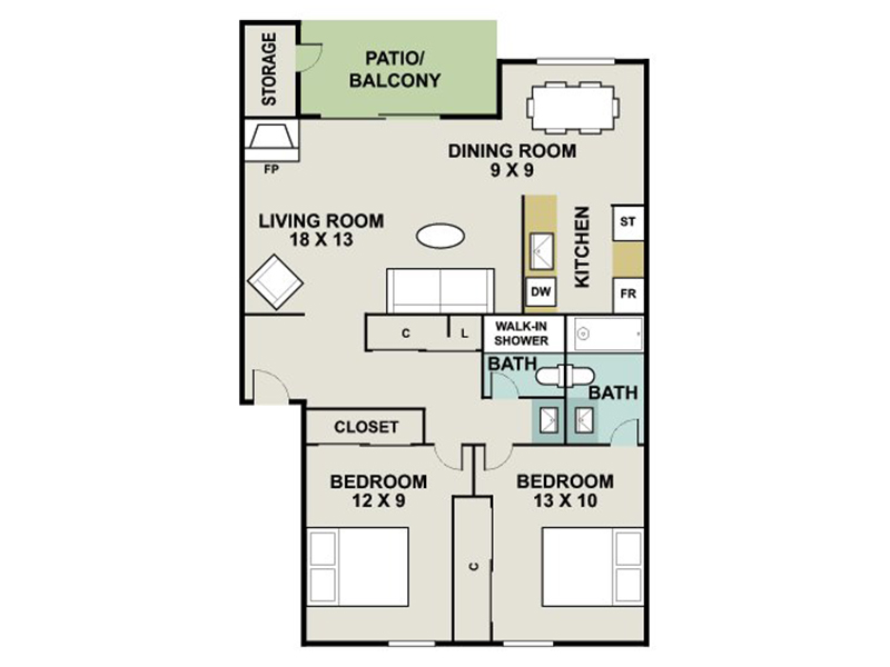 Our SOAPSTONE is a 2 Bedroom, 2 Bathroom Apartment