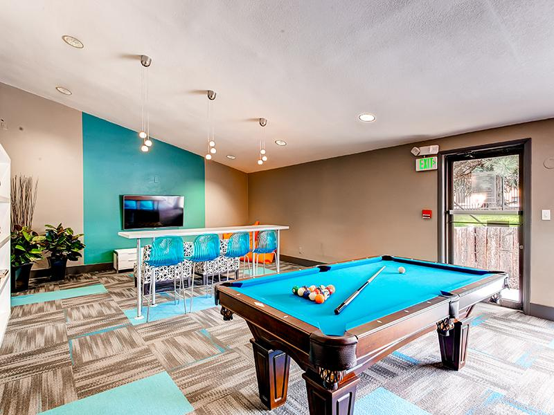 Clubhouse Pool Table | 3300 Tamarac Apartments in Denver CO