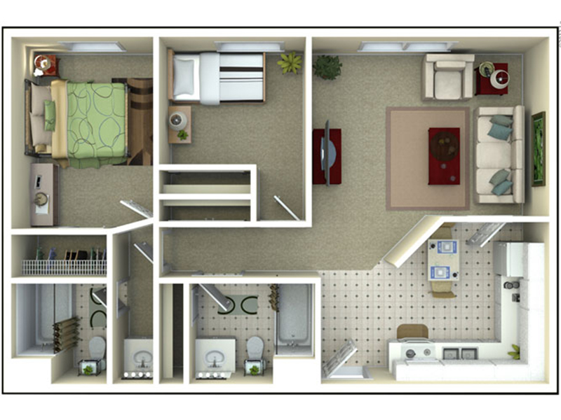 Our B2-3X is a 2 Bedroom, 2 Bathroom Apartment