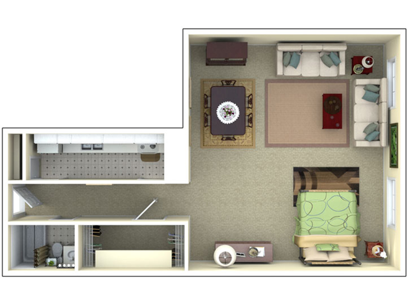 Our E1-2 is a Studio Bedroom, 1 Bathroom Apartment