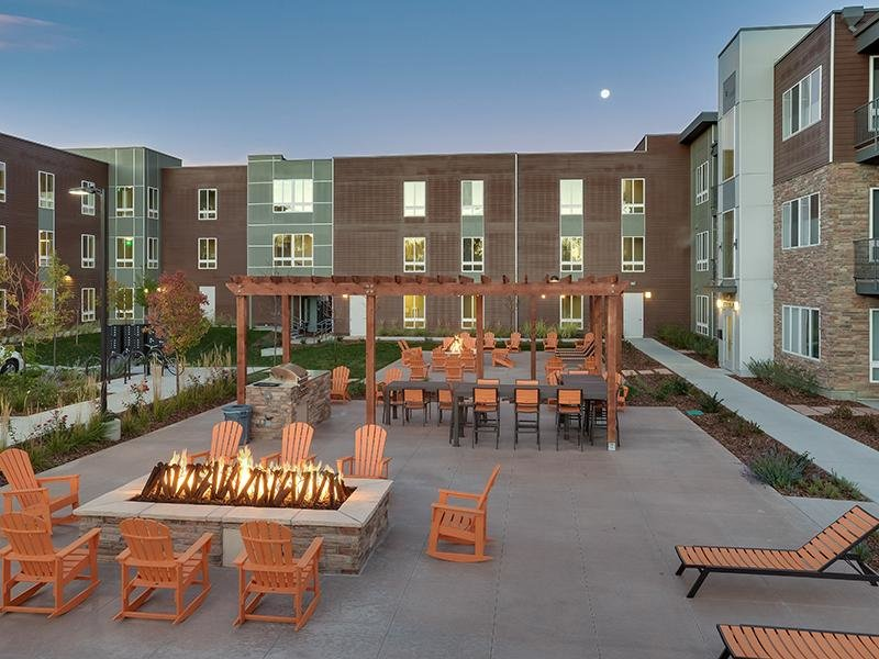 Exterior | Fire Pit | Boulder Colorado Apartments