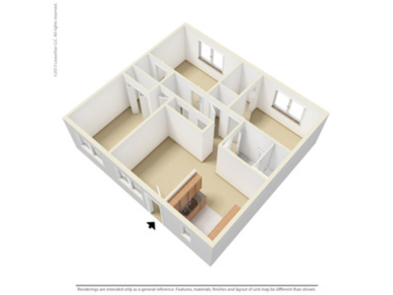 Our 3X1 is a 3 Bedroom, 1 Bathroom Apartment