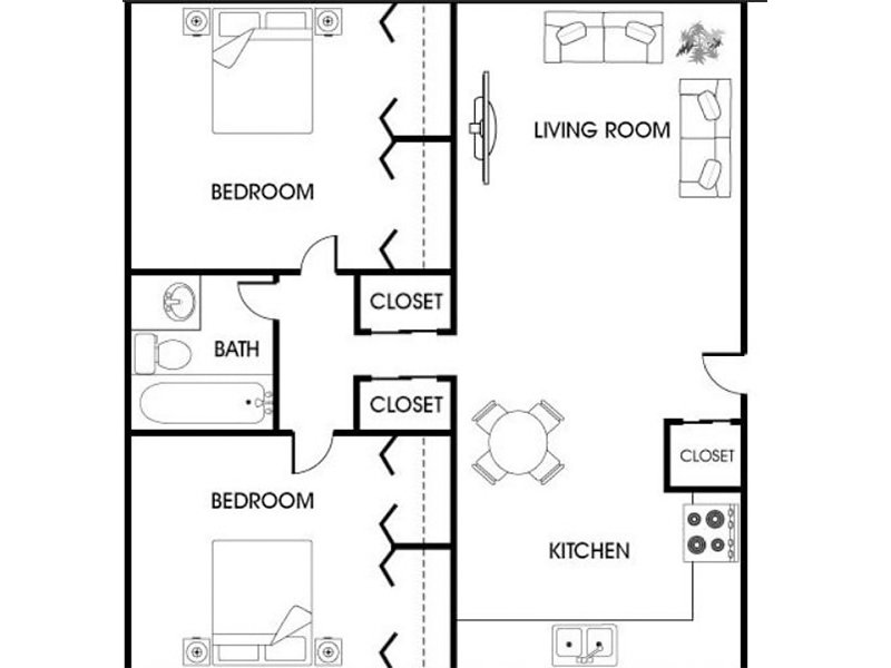 Our 2x1c is a 2 Bedroom, 1.5 Bathroom Apartment