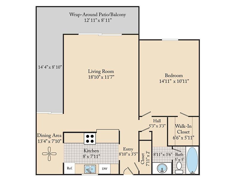 Our 1 Bedroom 1 Bathroom A3 is a 1 Bedroom, 1 Bathroom Apartment