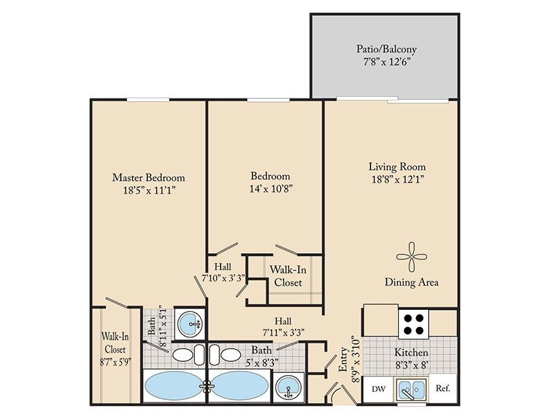 Our 2 BEDROOM 2 BATHROOM B1 is a 2 Bedroom, 2 Bathroom Apartment