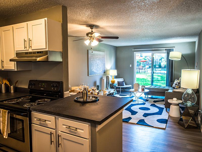 Kitchen & Living Room | Cedar Run Apartments