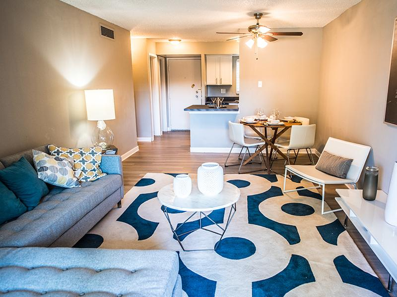 Living Room & Kitchen | 1 Bedroom Cedar Run Apartments