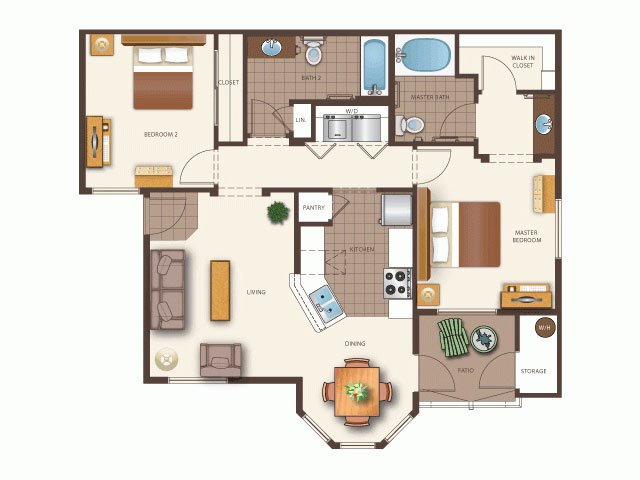 Our Kensho is a 2 Bedroom, 2 Bathroom Apartment