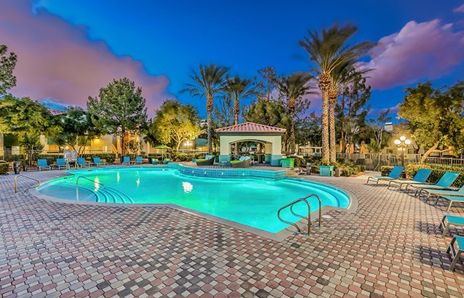 Luxury Pool with Cabana at Mirasol Las Vegas Luxury Apartments for Rent