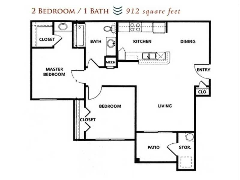 Our 2x1 80% is a 2 Bedroom, 1 Bathroom Apartment