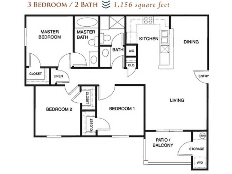 Our 3x2 60% is a 3 Bedroom, 2 Bathroom Apartment