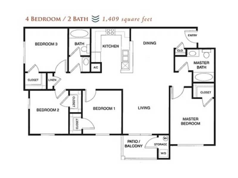 Our 4x2 80% is a 4 Bedroom, 2 Bathroom Apartment