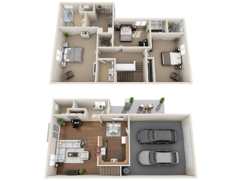 Our L-R is a 3 Bedroom, 2.5 Bathroom Apartment