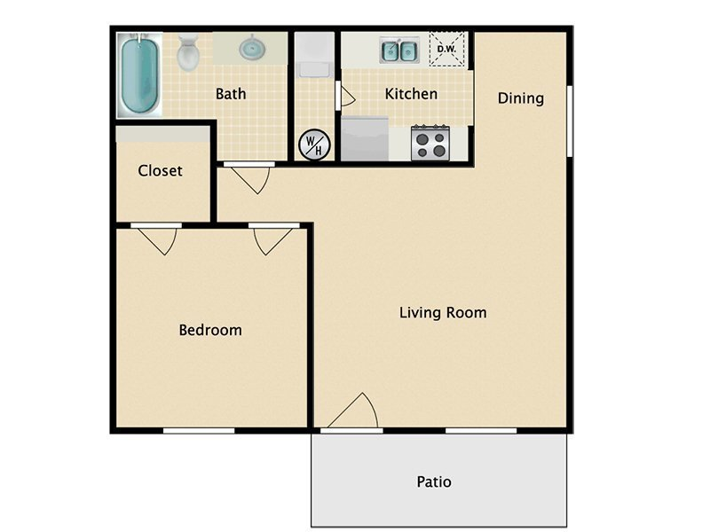 Our 1x1 W/D Income Restricted is a 1 Bedroom, 1 Bathroom Apartment