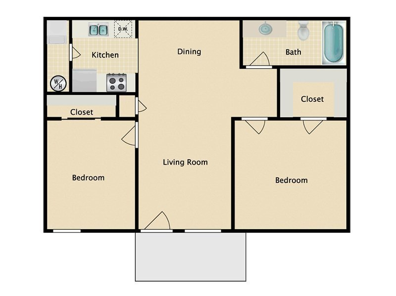 Our 2x1 W/D  Income Restricted is a 2 Bedroom, 1 Bathroom Apartment