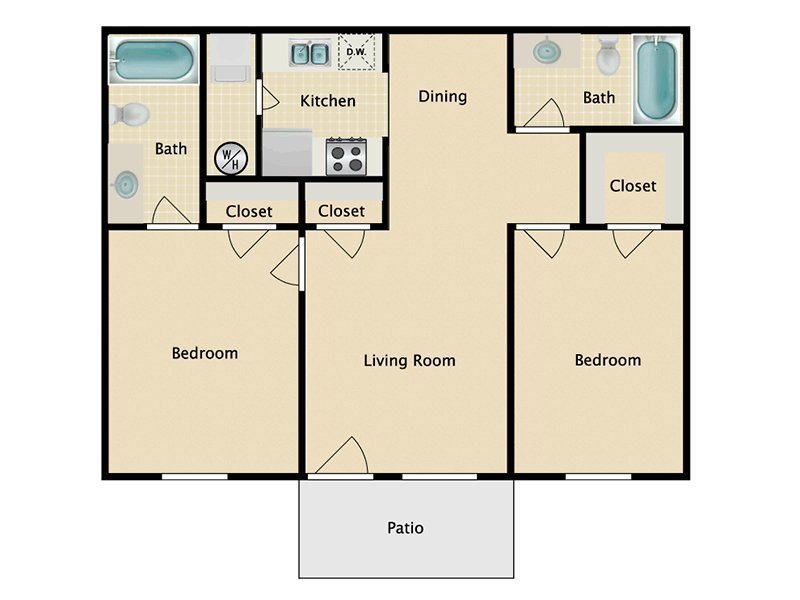 Our 2x2 W/D Income Restricted is a 2 Bedroom, 2 Bathroom Apartment