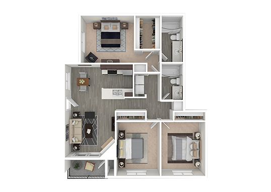 Floorplan for Capri North and South Apartments