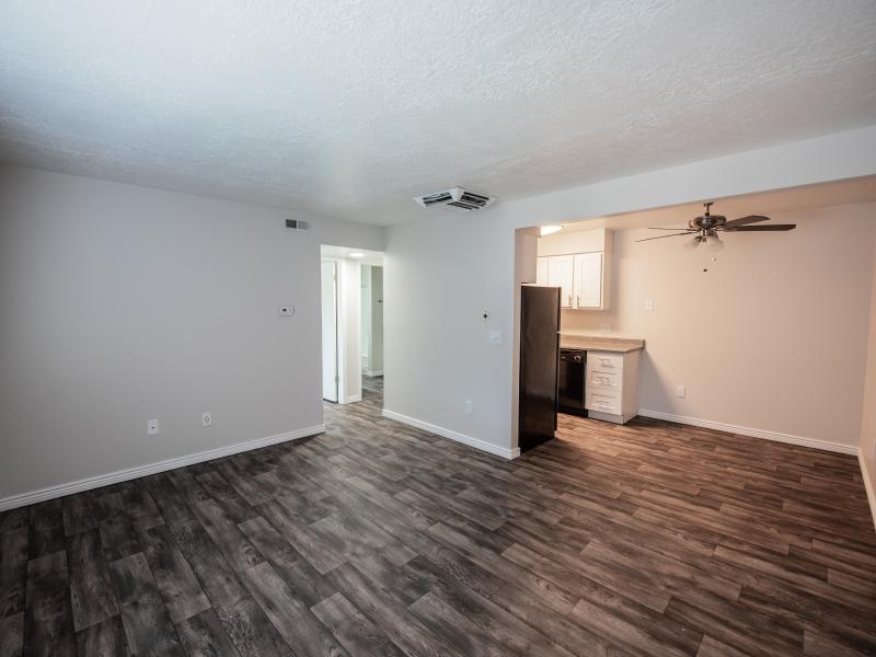 Living Room With Hardwood Floors | Holladay on Ninth Apartments in Salt Lake City UT