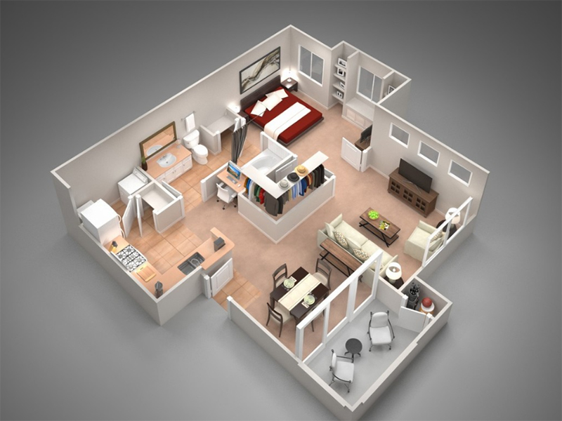 Our A3A is a 1 Bedroom, 1 Bathroom Apartment