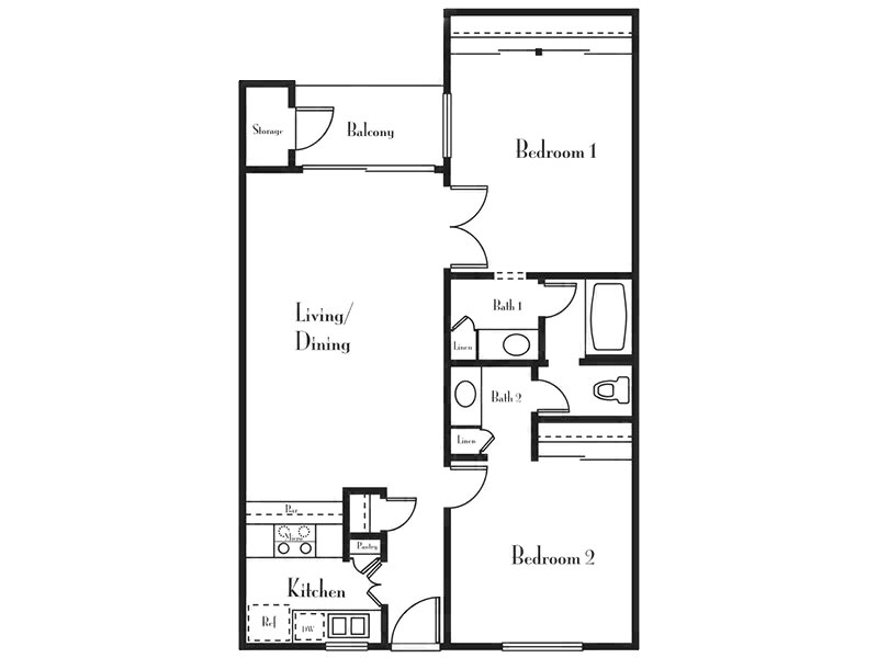 Our 2 Bedroom 1 Bath B is a 2 Bedroom, 1 Bathroom Apartment