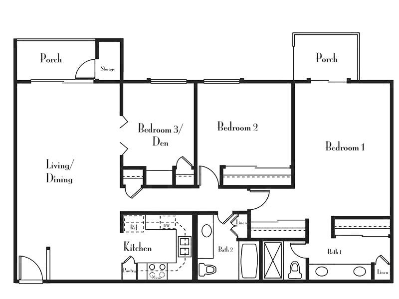 Our 3 Bedroom 2 Bath is a 3 Bedroom, 2 Bathroom Apartment