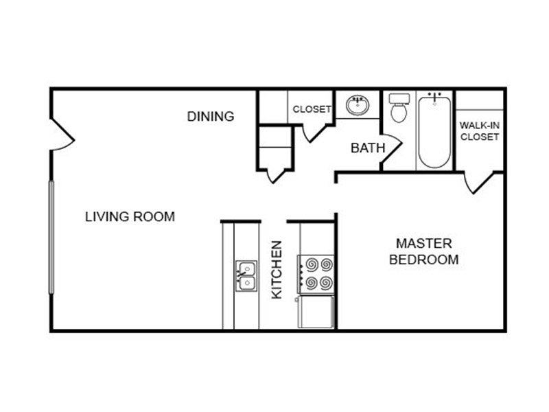 Our 1x1-plz is a 1 Bedroom, 1 Bathroom Apartment