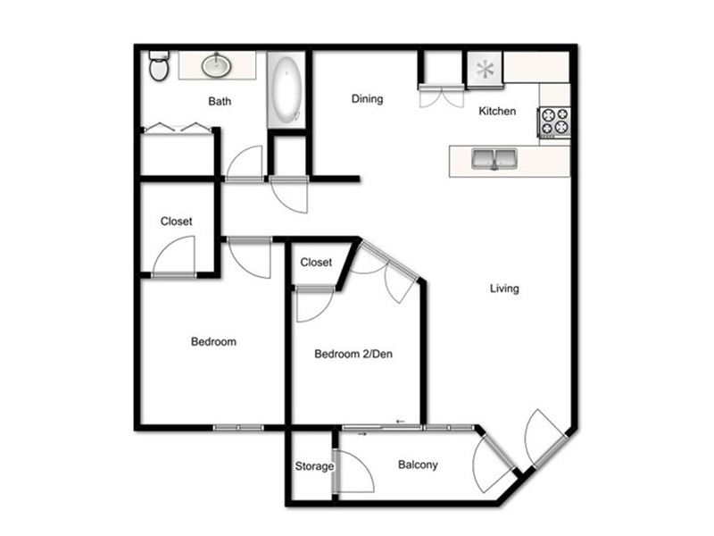 Our 2 Bed - 1 Bath Stratavarious is a 2 Bedroom, 1 Bathroom Apartment