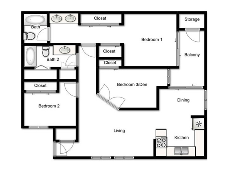 Our 3 Bed - 2 Bath Symphony is a 3 Bedroom, 2 Bathroom Apartment