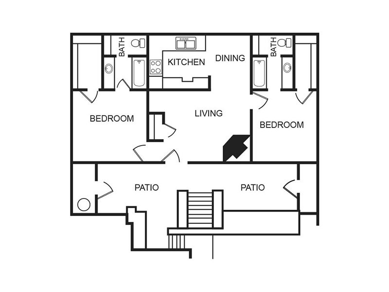 Our B1R is a 2 Bedroom, 2 Bathroom Apartment