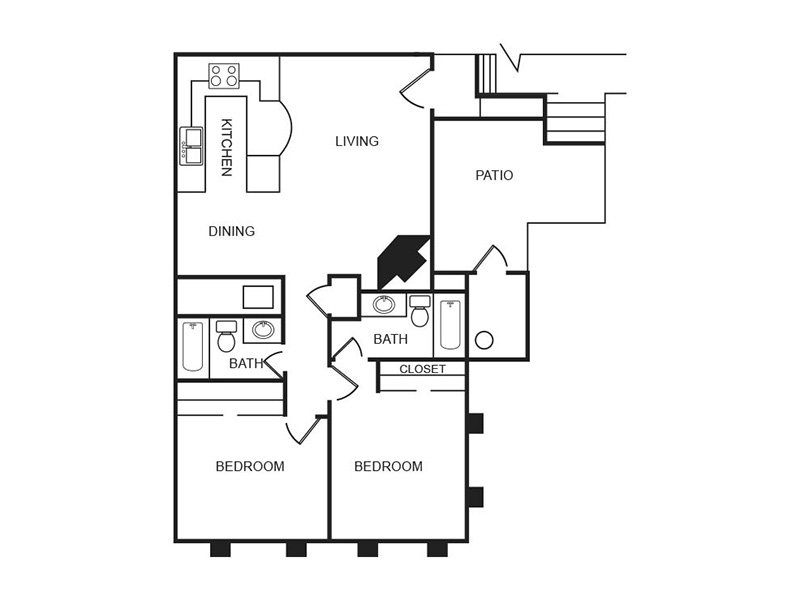 Our C1R is a 2 Bedroom, 2 Bathroom Apartment