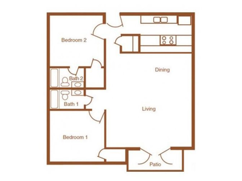 Our 2X2-1000 is a 2 Bedroom, 2 Bathroom Apartment