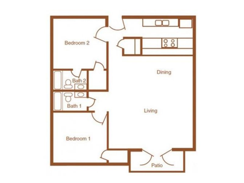 Our 2X2R-1000 is a 2 Bedroom, 2 Bathroom Apartment