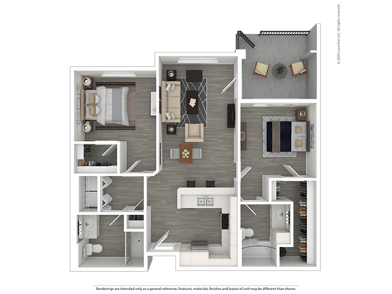 Our 2x2 A is a 2 Bedroom, 2 Bathroom Apartment