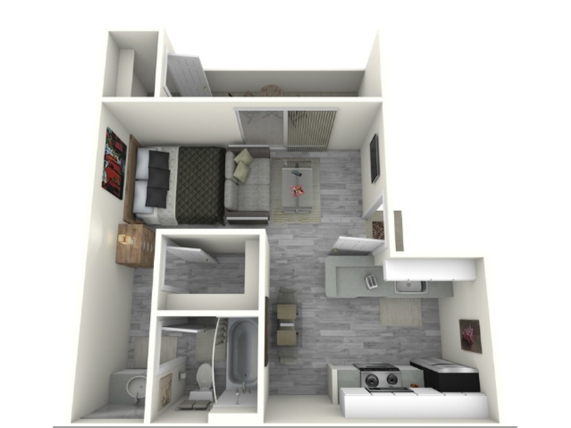 Our 0x1_460_C is a Studio Bedroom, 1 Bathroom Apartment
