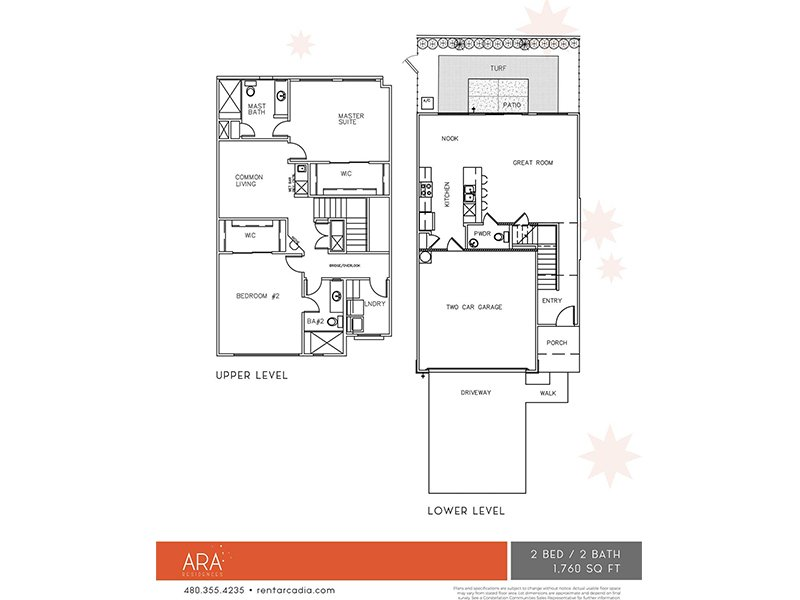 Our 2 Bedroom is a 2 Bedroom, 2.5 Bathroom Apartment