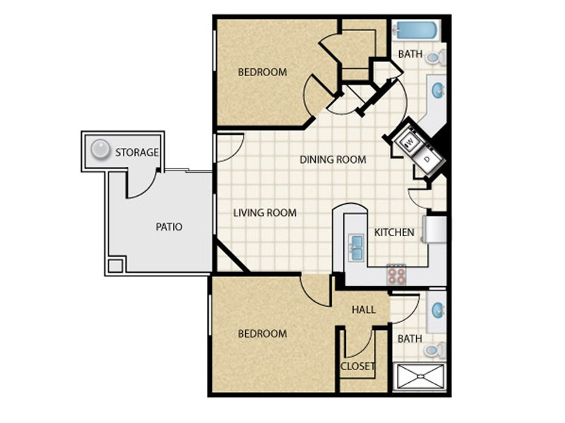 Our 2x2_c1 is a 2 Bedroom, 2 Bathroom Apartment