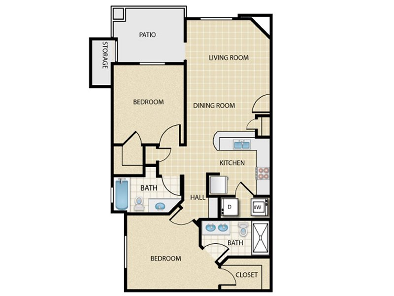 Our 2x2_c2 is a 2 Bedroom, 2 Bathroom Apartment