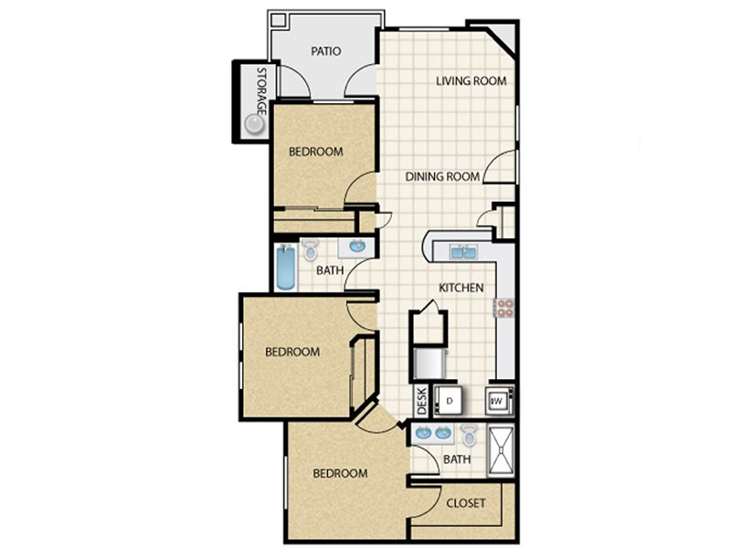 Our 3x2_d1 is a 3 Bedroom, 2 Bathroom Apartment