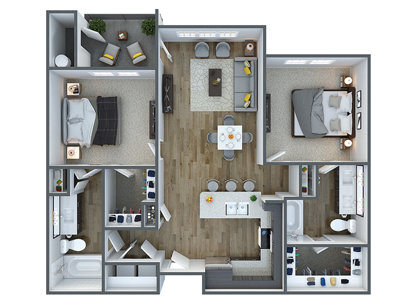 Our b20a is a 2 Bedroom, 2 Bathroom Apartment