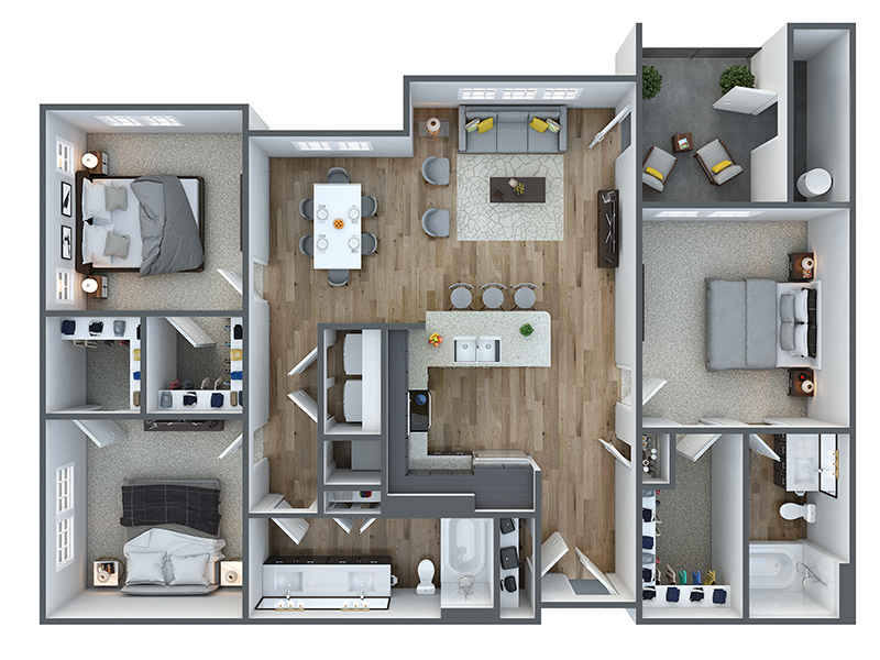 Our c20a is a 3 Bedroom, 2 Bathroom Apartment