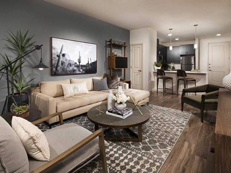 1 Bedroom Front Room | Parc at South Mountain