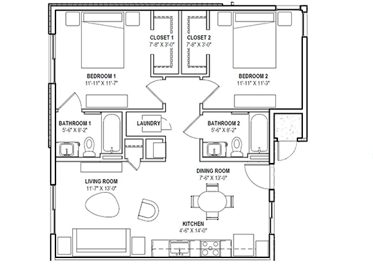Floorplan for The Grayson on the Rail Apartments
