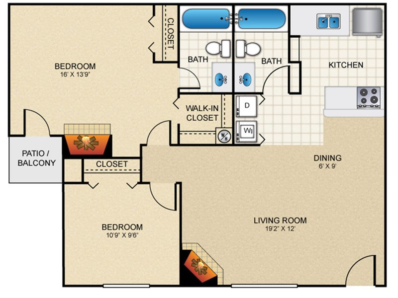 Our b20b is a 2 Bedroom, 2 Bathroom Apartment
