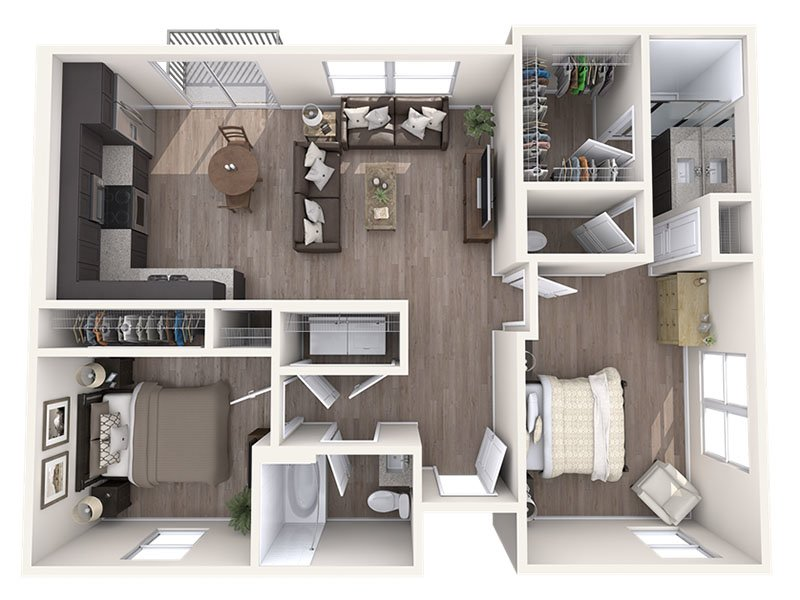 Our B is a 2 Bedroom, 2 Bathroom Apartment