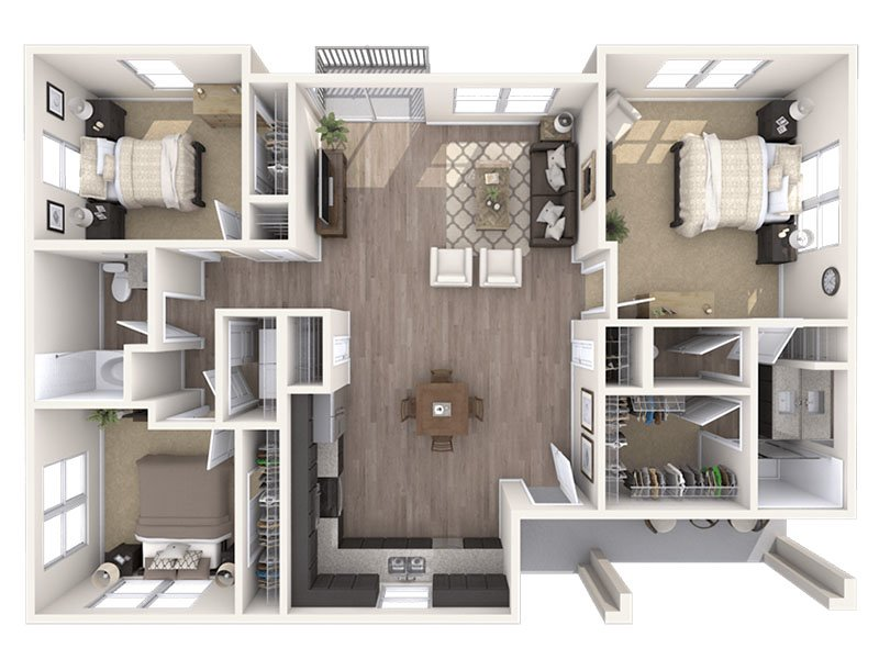 Our C is a 3 Bedroom, 2 Bathroom Apartment