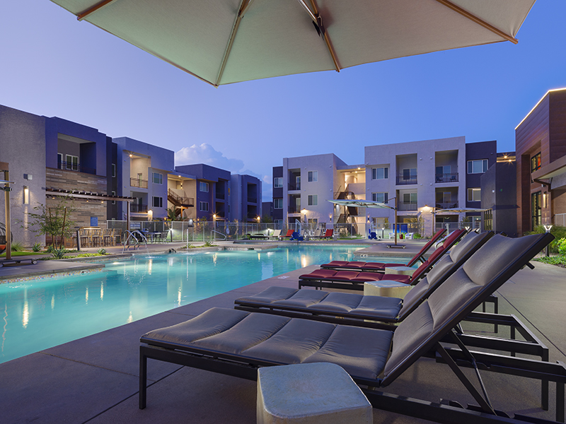 Poolside Seating | Grayson Place Apartments in Goodyear, AZ