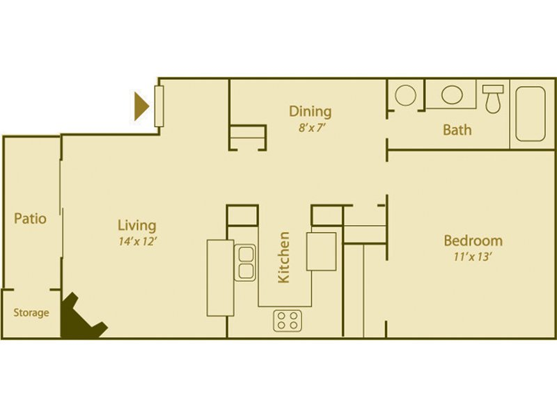 Our Desert Willow is a 1 Bedroom, 1 Bathroom Apartment
